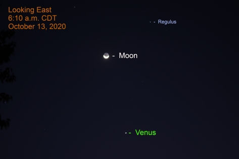 Moon and Venus, October 13, 2020