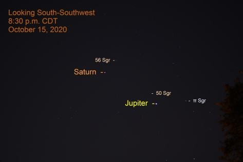 Jupiter and Saturn in Sagittarius, October 15, 2020.